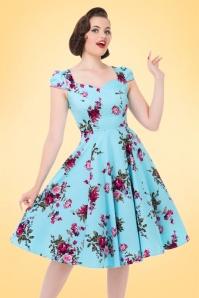 Hearts & Roses  Light Blue Floral Swing Dress 102 39 17134 03182016 1