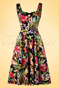 Hearts & Roses  Black Floral Swing Dress 102 14 17138 03182016 006W