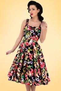 50s Emma Floral Swing Dress in Black