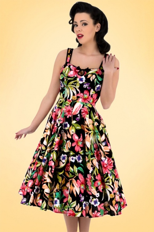 Hearts & Roses  Black Floral Swing Dress 102 14 17138 1