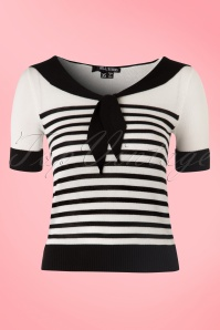 50s Coco Striped Top in Black and Ivory