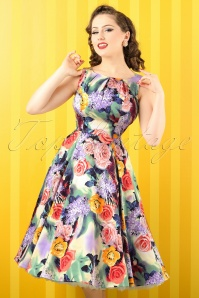 50s Violet Roses Swing Dress in Green