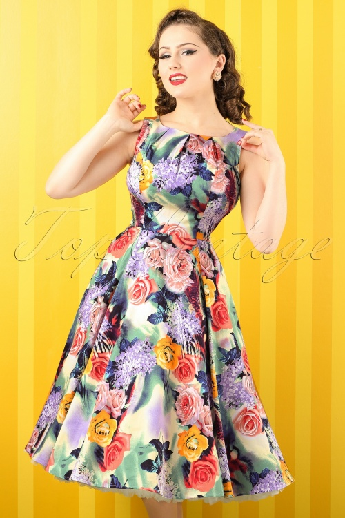 Hearts and Roses Green Floral Swing Dress 102 57 18413 20160219 0013