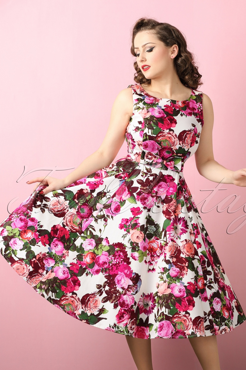 1940s Pinup Dresses for Sale 50s Audrey Floral Swing Dress in Cream £49.15 AT vintagedancer.com