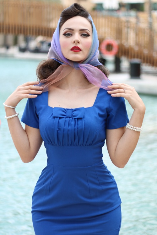 50s debbie pencil dress in royal blue. Black Bedroom Furniture Sets. Home Design Ideas