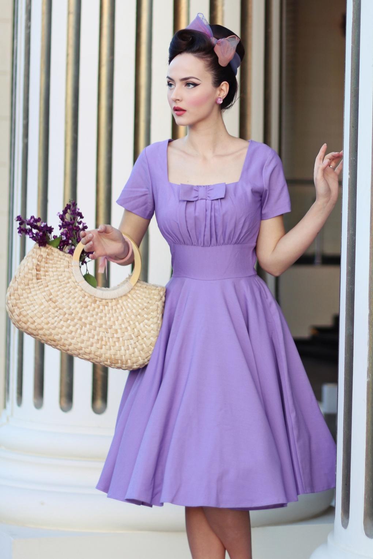 50s Debbie Swing Dress in Lavender