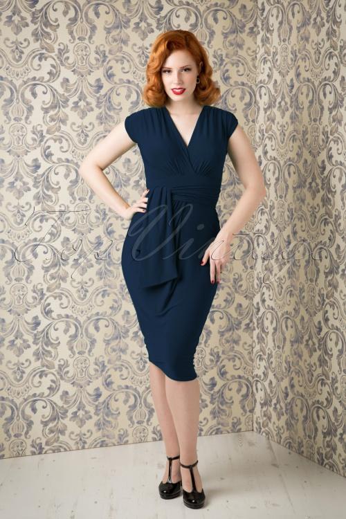 Vintage Chic Blue Pencil Dress 100 40 15948 0925201508