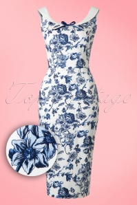 50s Maddison Toile Floral Pencil Dress in White and Blue