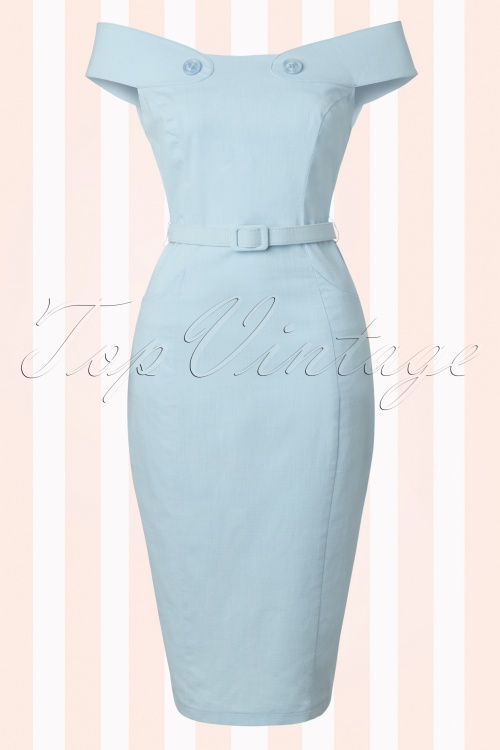 Collectif Cloting Eloise Light Blue Pencil Dress 17739 20151117 0004W