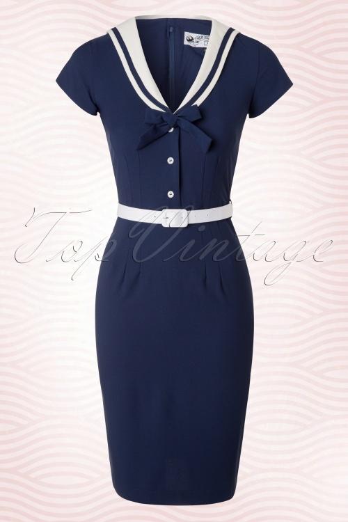 abafa6babe Bunny Yvonne Navy Pencil Sailor Dress 100 31 19011 20160325 0005W2
