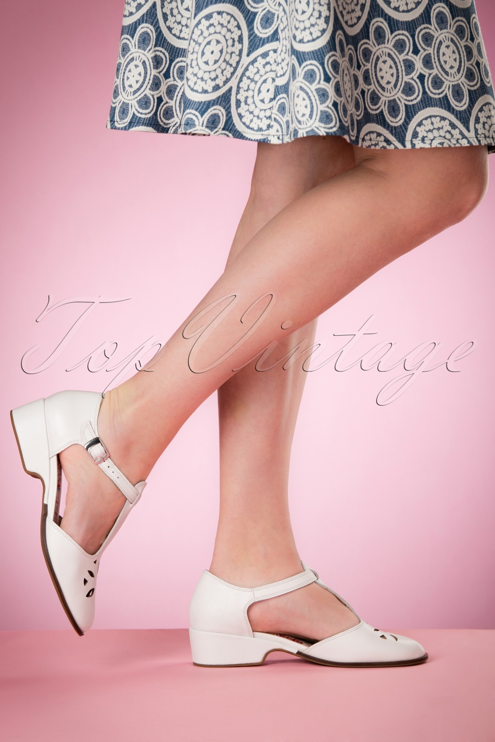 Vintage Style Shoes, Vintage Inspired Shoes 50s Daisy T-Bar Sandals in White £114.48 AT vintagedancer.com