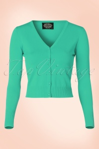 50s Eva Cardigan in Aqua Green
