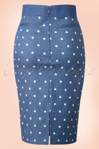 Dancing Days by Banned Judy Hearts Denim Pencil Skirt 120 39 17853 20160330 0008W