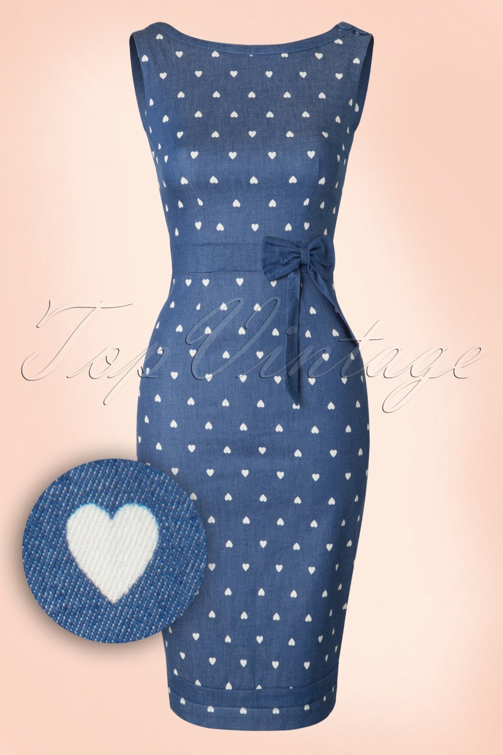 1950s Polka Dot Dresses 50s Judy Hearts Dress in Denim £47.21 AT vintagedancer.com