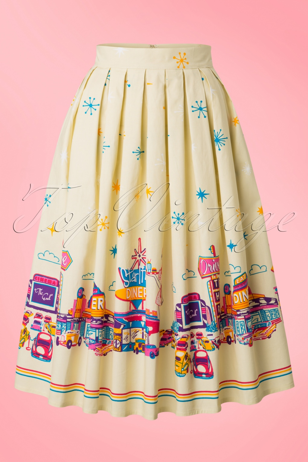 50s Peggy Diner Swing Skirt in Yellow
