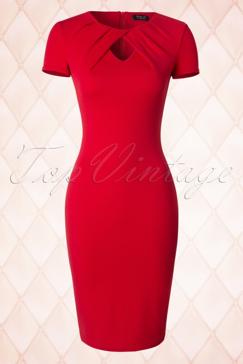 Vintage Chic Keyhole Midi Red Pencil Dress 100 20 18359 20160330 0005W