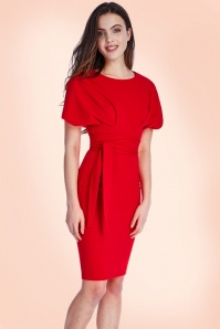 Vintage Chic Kimono Sleeve Red Dress 100 20 18952 1