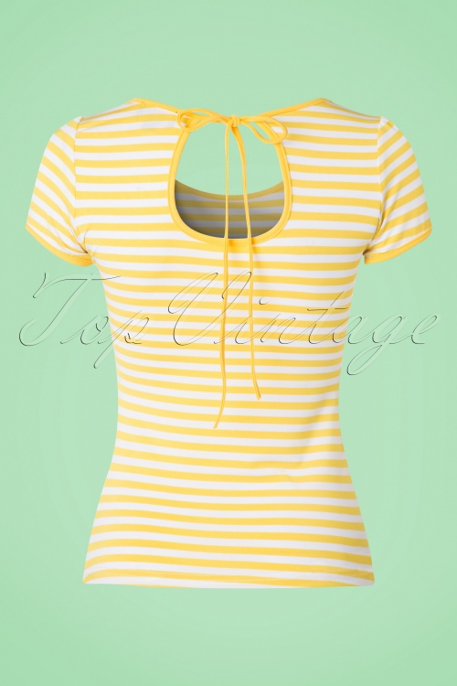 50s Gina Stripes Top in Yellow and White