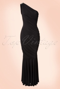 Vintage Chic Black Grecian One Shoulder Dress 108 10 18953 20160330 0007W