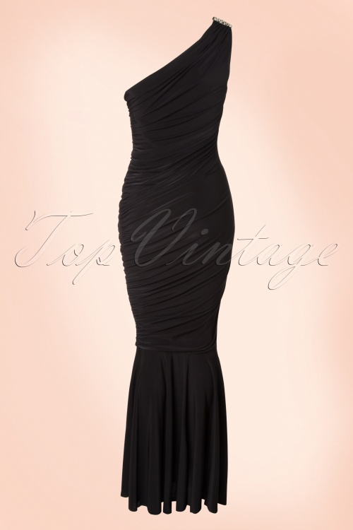 50s Grecian One Shoulder Maxi Dress in Black