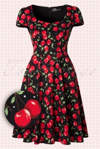 50s Claudia Cherry Swing Dress in Black
