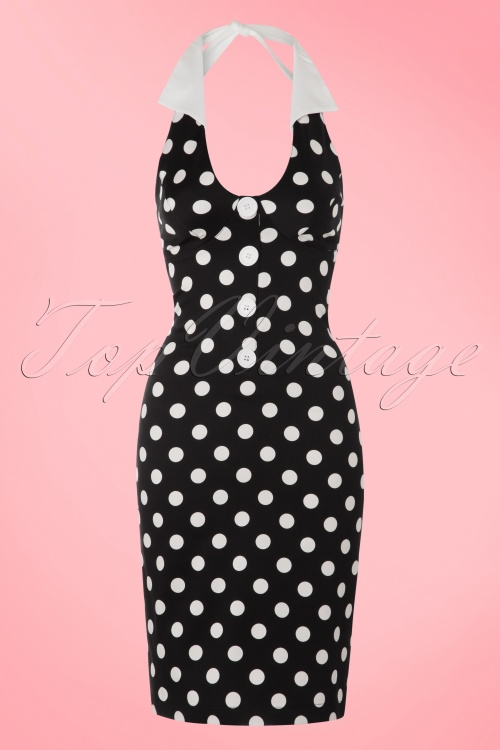 1Steady Clothing TopVintage Exclusive Cherry Dollface Polkadot Halter Dress in Black  100 14 15077 20160401 0006W