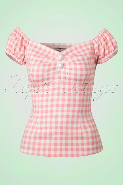 Collectif Cloting Dolores Pink Gingham Top 17708 20151117 0005W