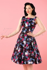 50s Gina Floral Swing Dress in Black