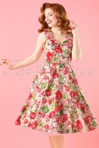 50s Bettie Floral Swing Dress in Beige