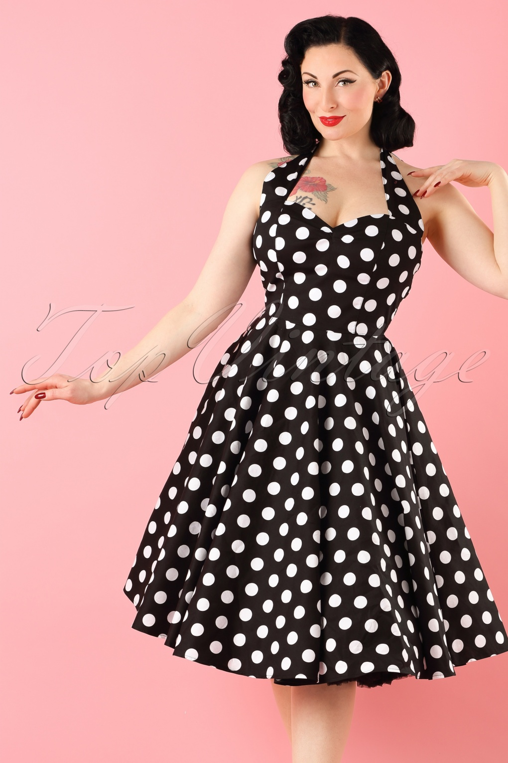 Vintage Cocktail Dresses, Party Dresses 50s Retro halter 50s Meriam Swing dress in Polka black white £50.94 AT vintagedancer.com
