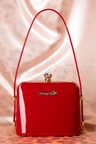 50s Doris Lacquer Handbag in Red