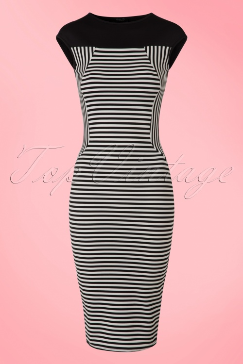 Vintage Chic  Dinah Pencil Black and White Stripes 100 14 18604 20160404 0003W