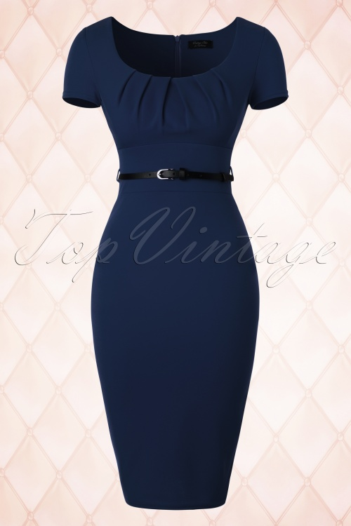 d58799c25ddd7c Vintage Chic Pleated Front Blue Pencil Dress 100 20 18362 20160404 0006W