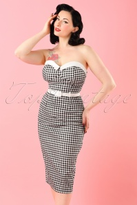 50s Monica Gingham Pencil Dress in Black and White