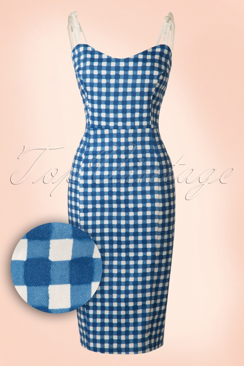 50s Nancy Painted Gingham Pencil Dress in Blue