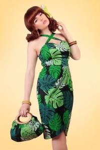 50s Mahina Tahiti Palm Sarong Dress in Green
