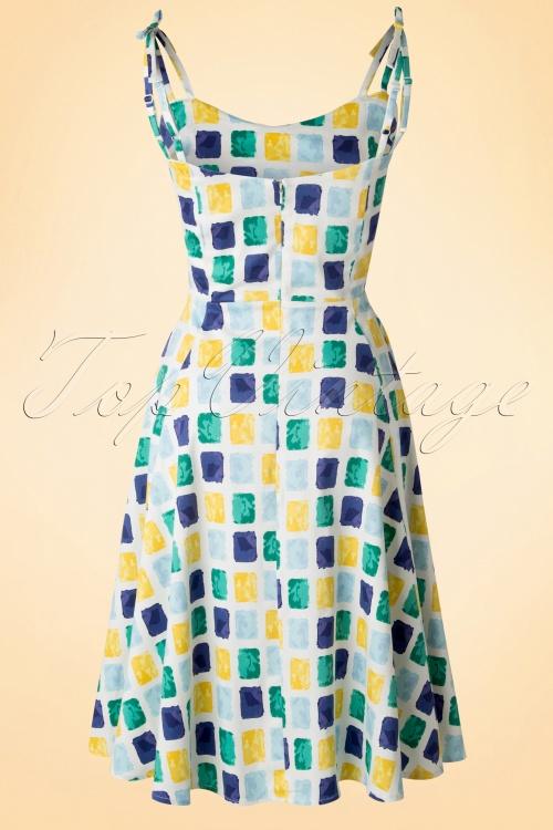 50s janie paint pot print swing dress in blue and yellow for Blue and yellow dress shirt