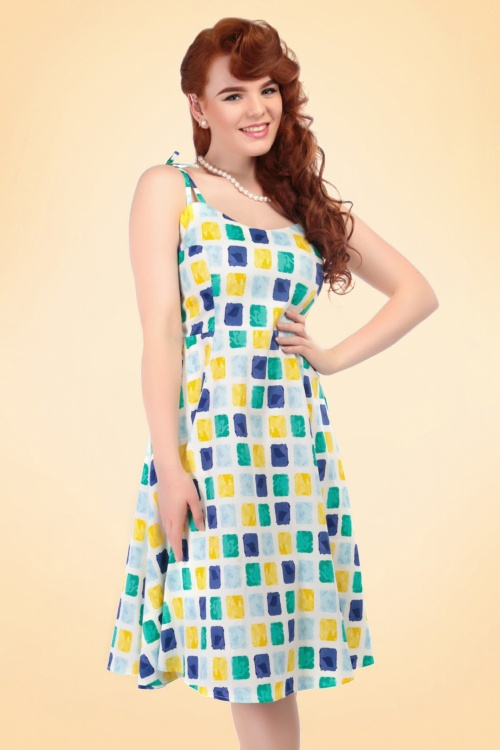50s Janie Paint Pot Print Swing Dress in Blue and Yellow