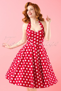 50s Meriam Polkadot Swing Dress in Red and White