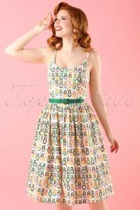 50s Matryoshka Nesting Dolls Swing Dress in Ivory