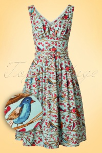 TopVintage Exclusive ~ 50s Birds Frock Swing Dress in Blue