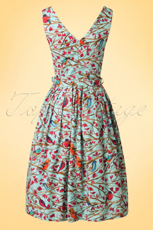 reputable site 5e267 ec303 TopVintage Exclusive ~ 50s Birds Frock Swing Dress in Blue
