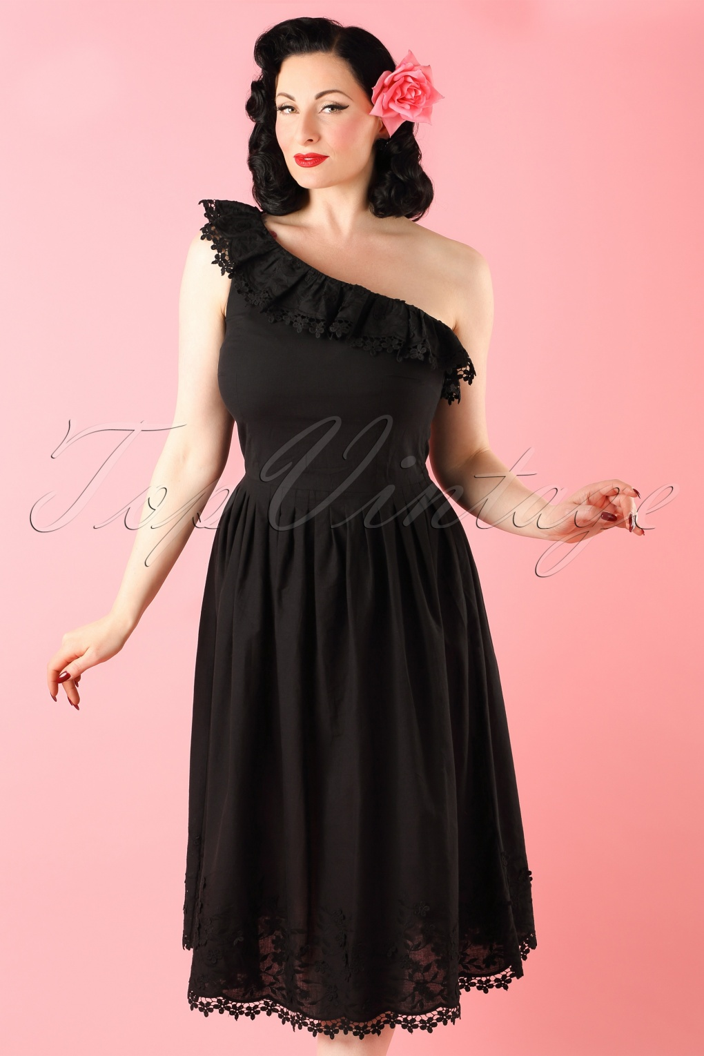 Topvintage Exclusive 50s Mariah Embroidered Swing Dress