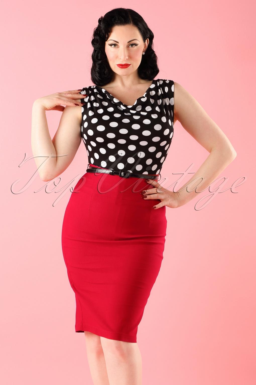1960s Style Skirts 60s Vixen Ramona Wiggle Dress red polka £70.56 AT vintagedancer.com