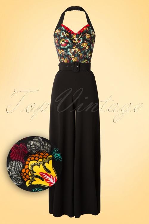 Miss Candyfloss Black Floral Jumpsuit 133 10 18011 20160405 0004W1
