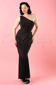 50s Grecian One Shoulder Maxi Dress in Black
