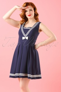 50s Sailors Ruin Dress in Navy