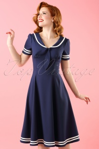 Bunny 50s Ambleside Swing Dress in Navy