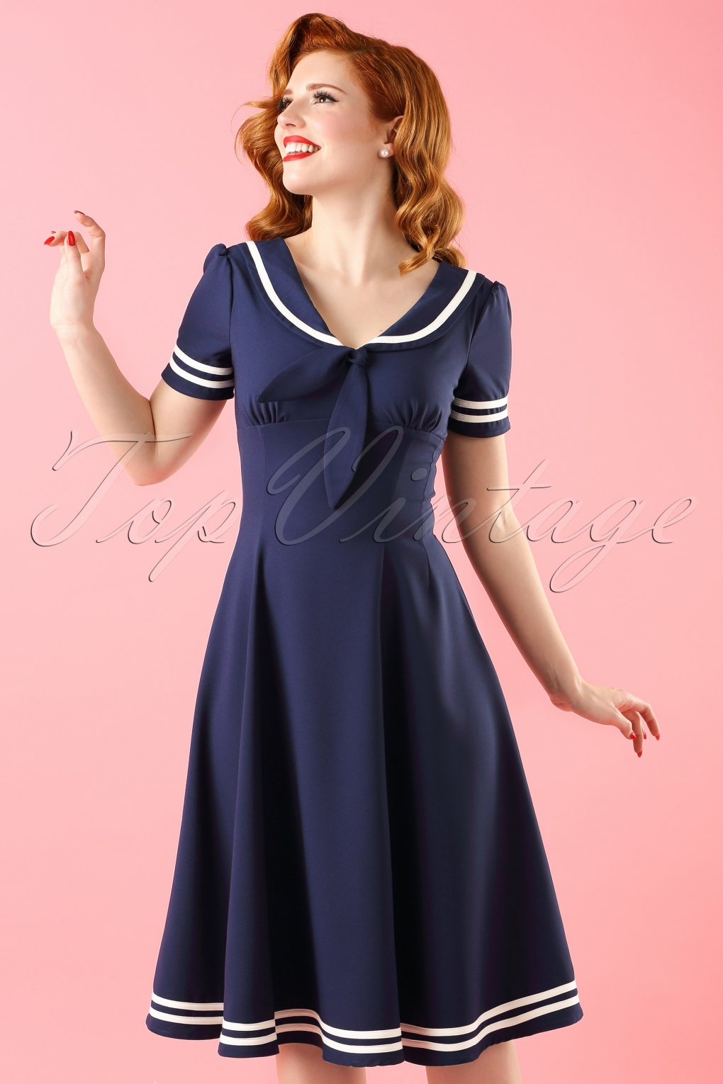 1940s Tea Dresses, Mature, Mrs. Long Sleeve Dresses 50s Ambleside Swing Dress in Navy �53.83 AT vintagedancer.com