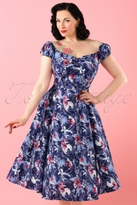 50s Dolores Maui Hibiscus Doll Dress in Navy